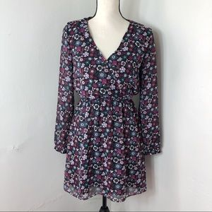 Express Floral Purple Long Sleeve Mini Dress XS